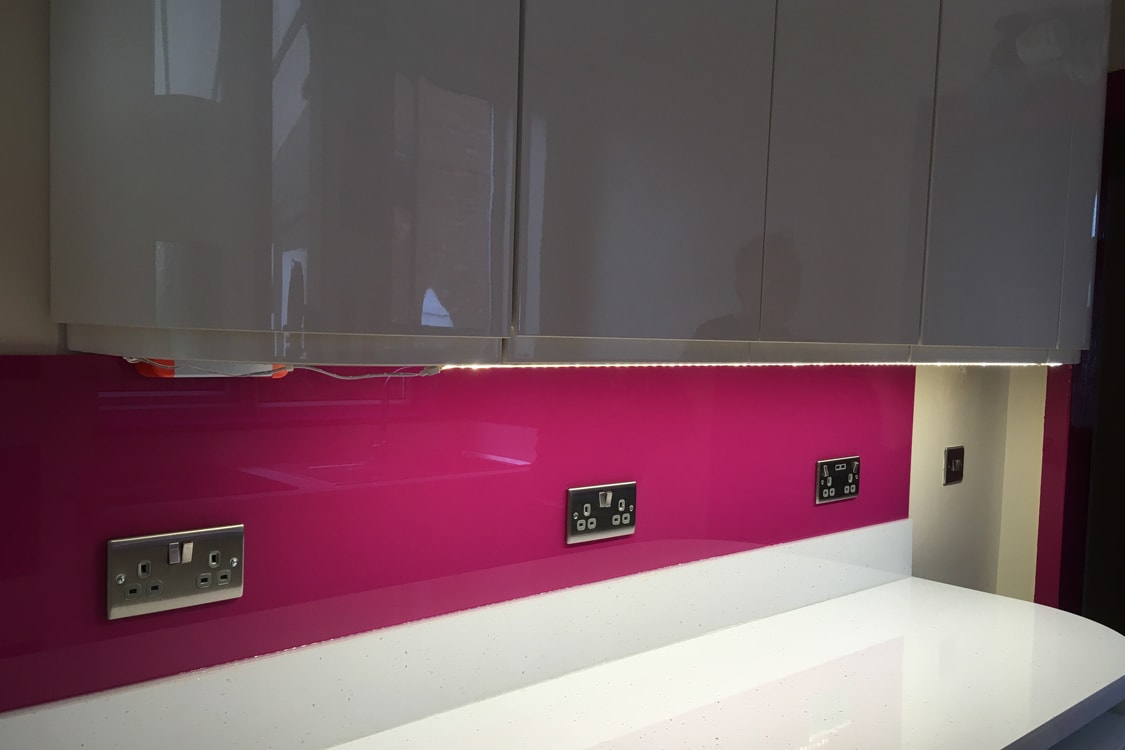Celosia Deep Purple Glass Splashback and Window Sill