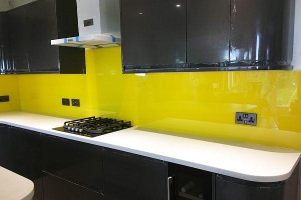 Stunning Sunflower Yellow Toughened Glass Splashback-min