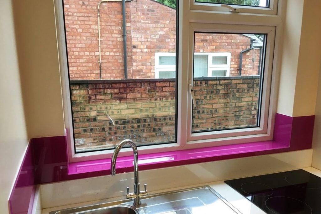 Celosia Deep Purple Glass Splashback and Window Sill Glass Splashbacks