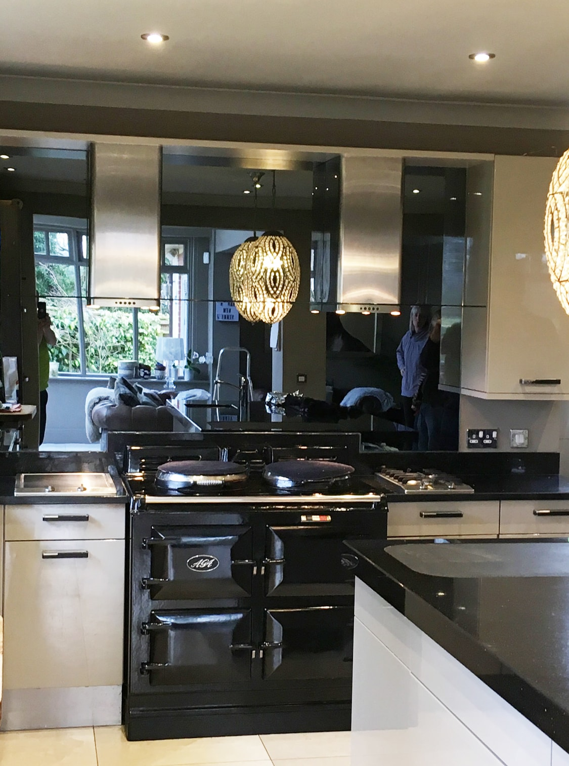 Toughened Grey Mirror Splashback with Twin Extractors ...
