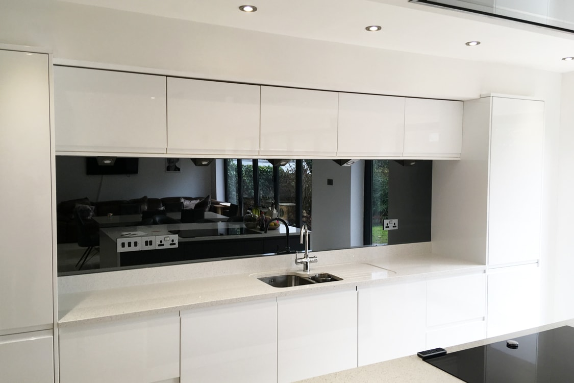 Toughened Grey Mirror Glass Splashback