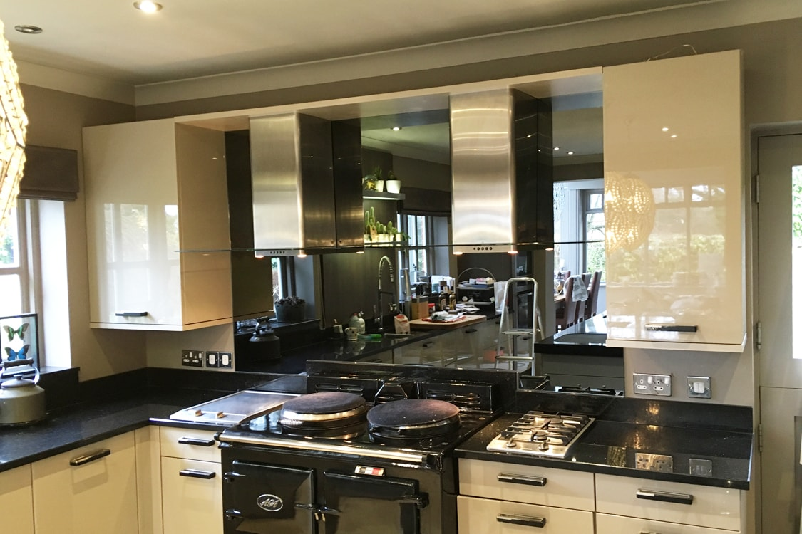 Toughened Grey Mirror Splashback with Twin Extractors