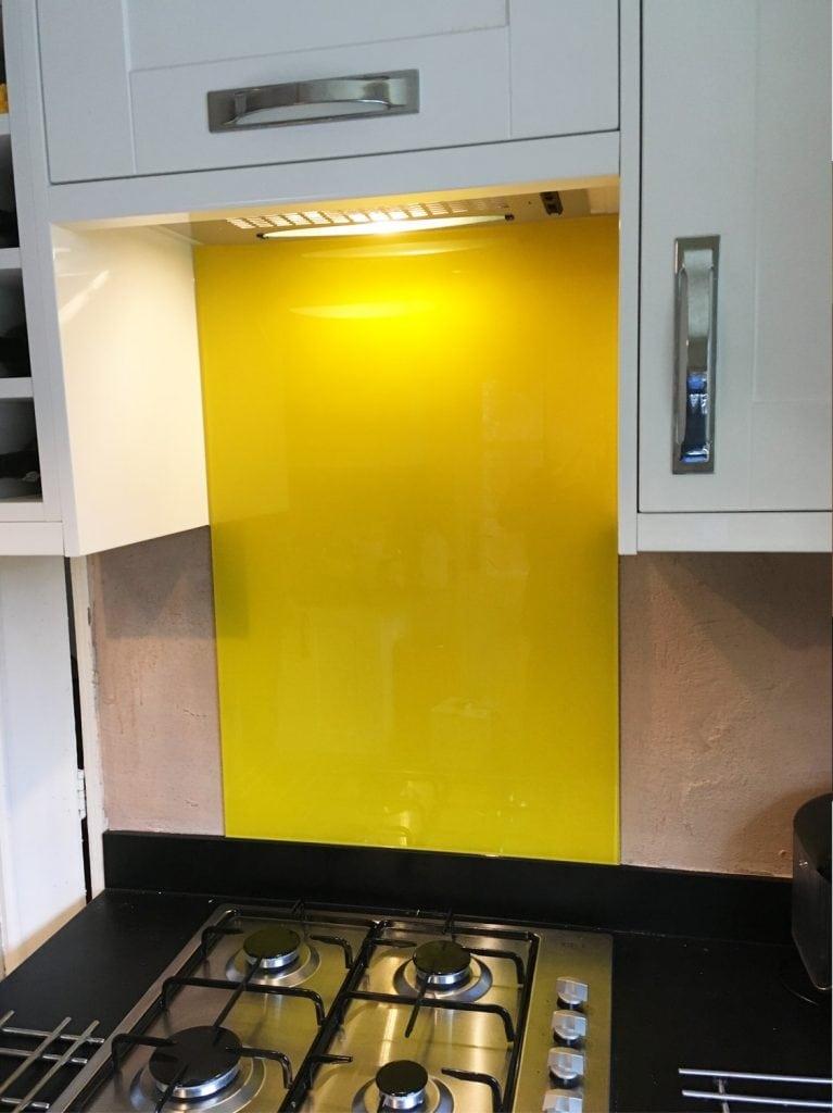 Sunflower Yellow Glass Splashback & Window Sill Glass Splashbacks