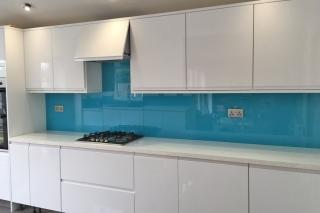 Carolina Blue Glass Splashback & Window Sill