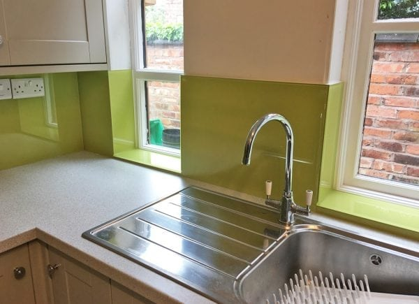 Toughened Glass Splashback Painted in Little Greene Pale Lime No.70-min