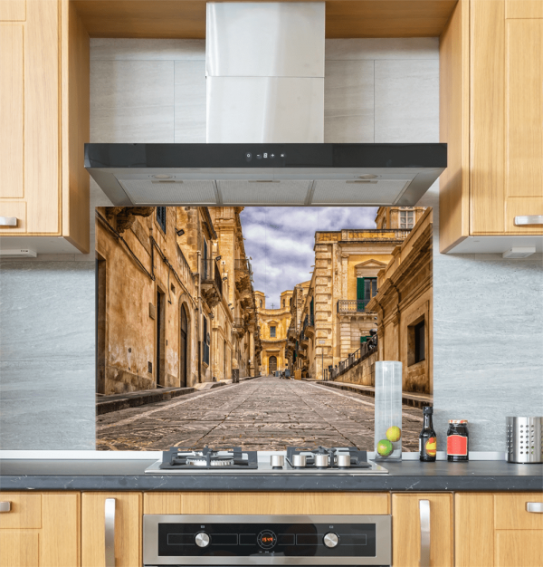 City Street Scene Glass Splashback