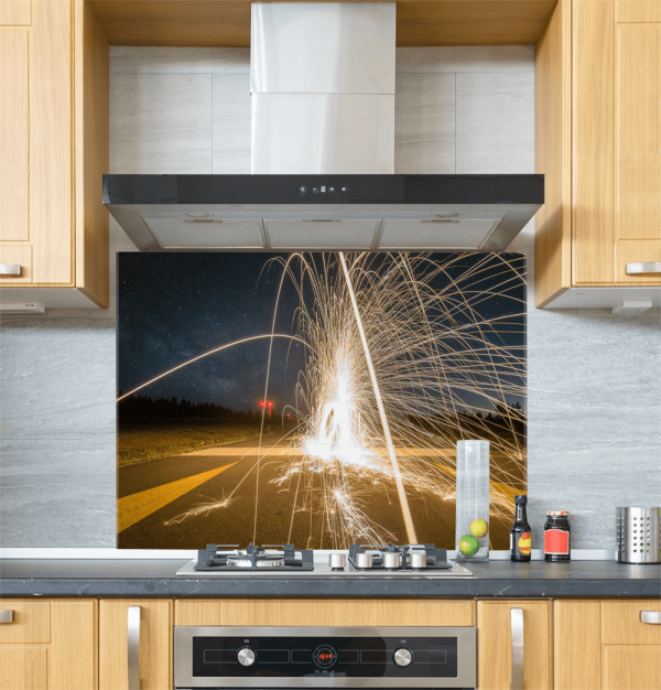 Firework Glass Splashback