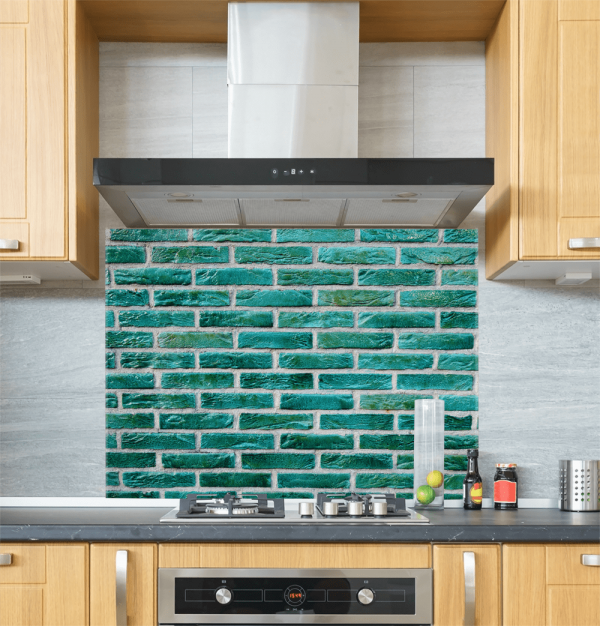Green Brick Wall Glass Splashback