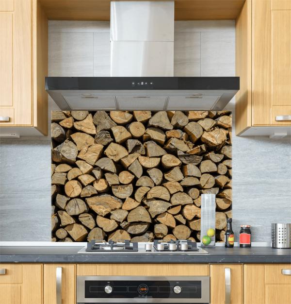 Log Pile Glass Splashback