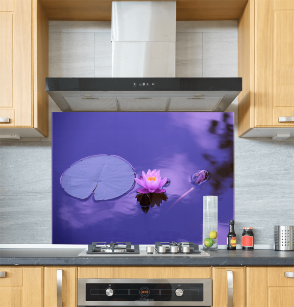 Lotus Flower Glass Splashback