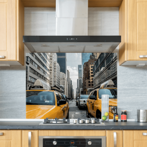 New York Taxi Cab Glass Splashback
