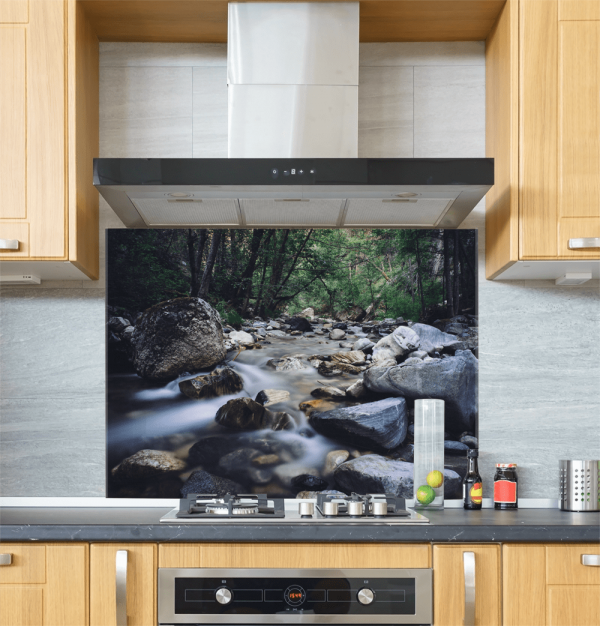 Waterfall Rocks Glass Splashback
