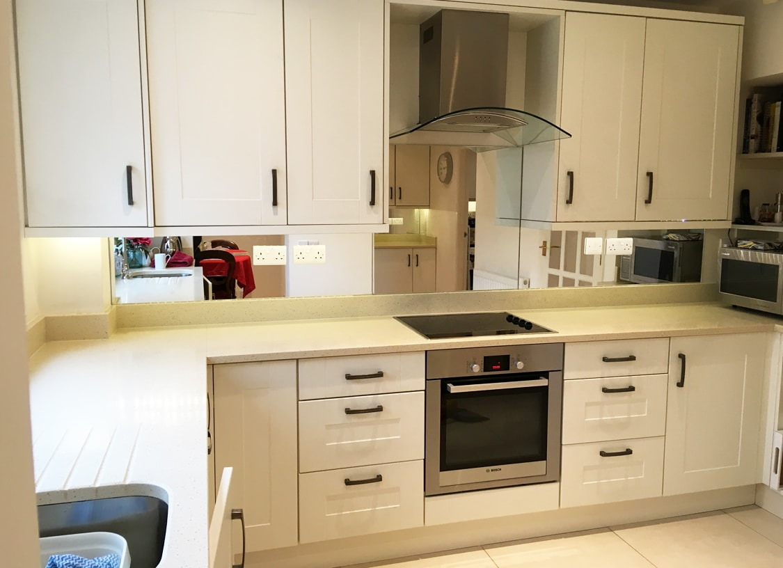 Silver Mirror Glass Splashback