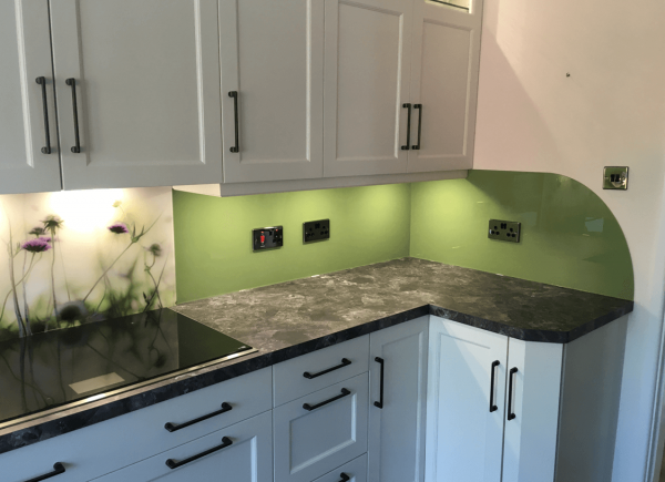 Farrow and Ball Yeabridge Green Kitchen Glass Splashback