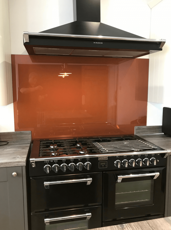 Glass Splashback Coloured in Copper