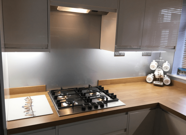 Kitchen Glass Splashback Coloured in Metalic Titanium