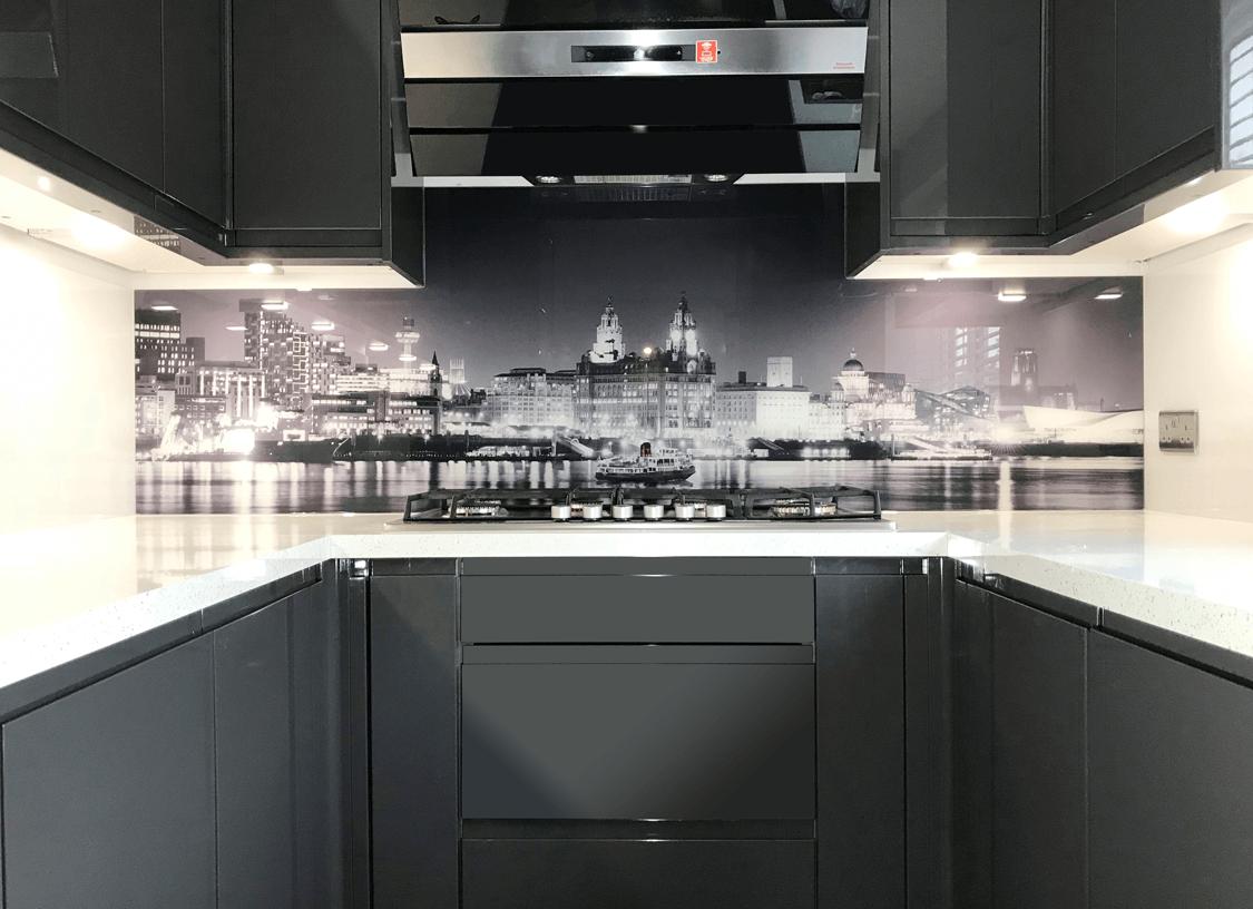 Black & White River Mersey Printed Glass Splashback