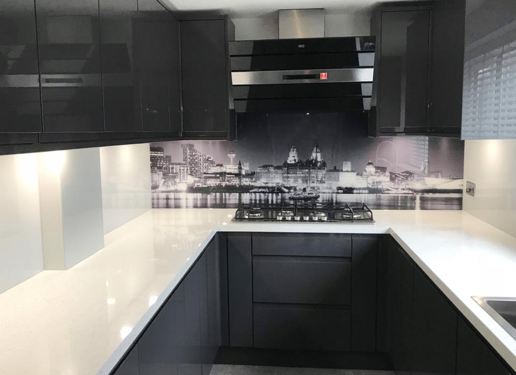 Black & White River Mersey Printed Glass Splashback Glass Splashbacks