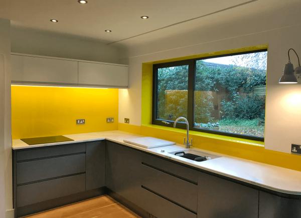 Glass Splashback Coloured in Sunflower Yellow
