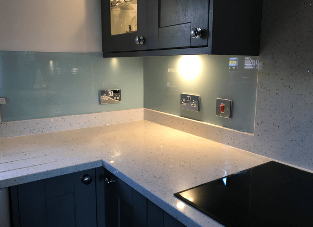 Pale Seafoam with Medium Sparkle Glass Splashback Glass Splashbacks