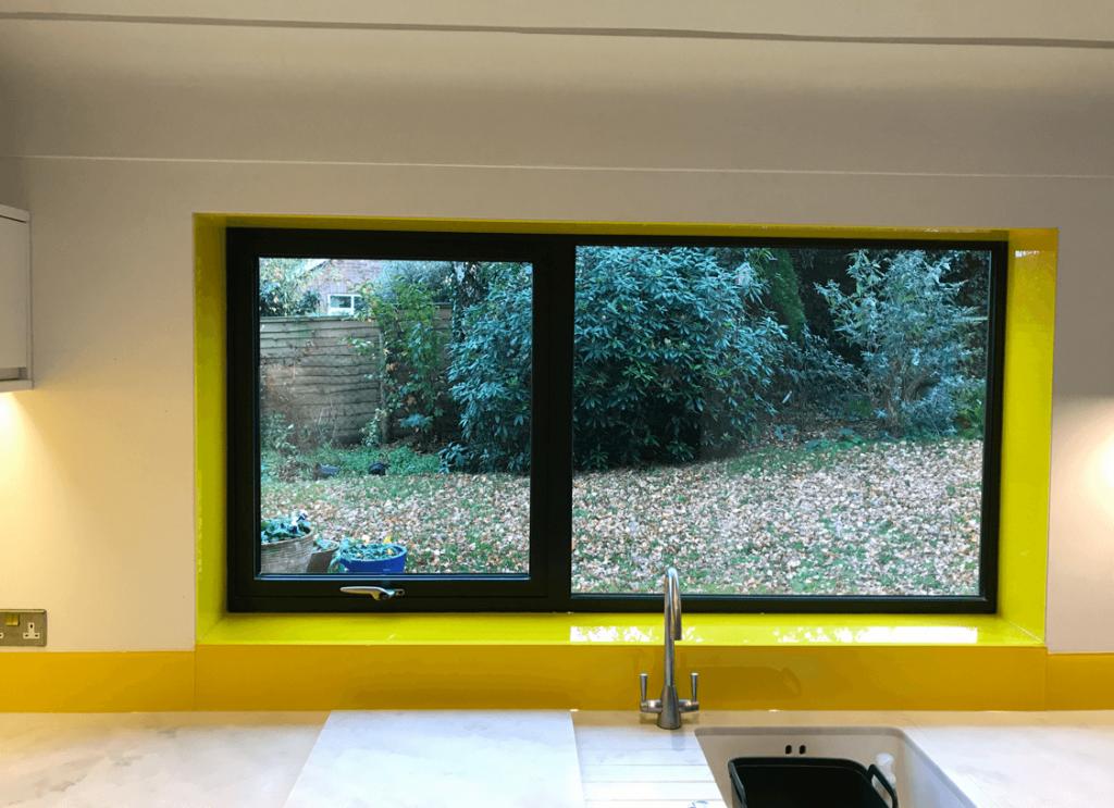 Sunflower Yellow and Window Sill Glass Splashback Glass Splashbacks
