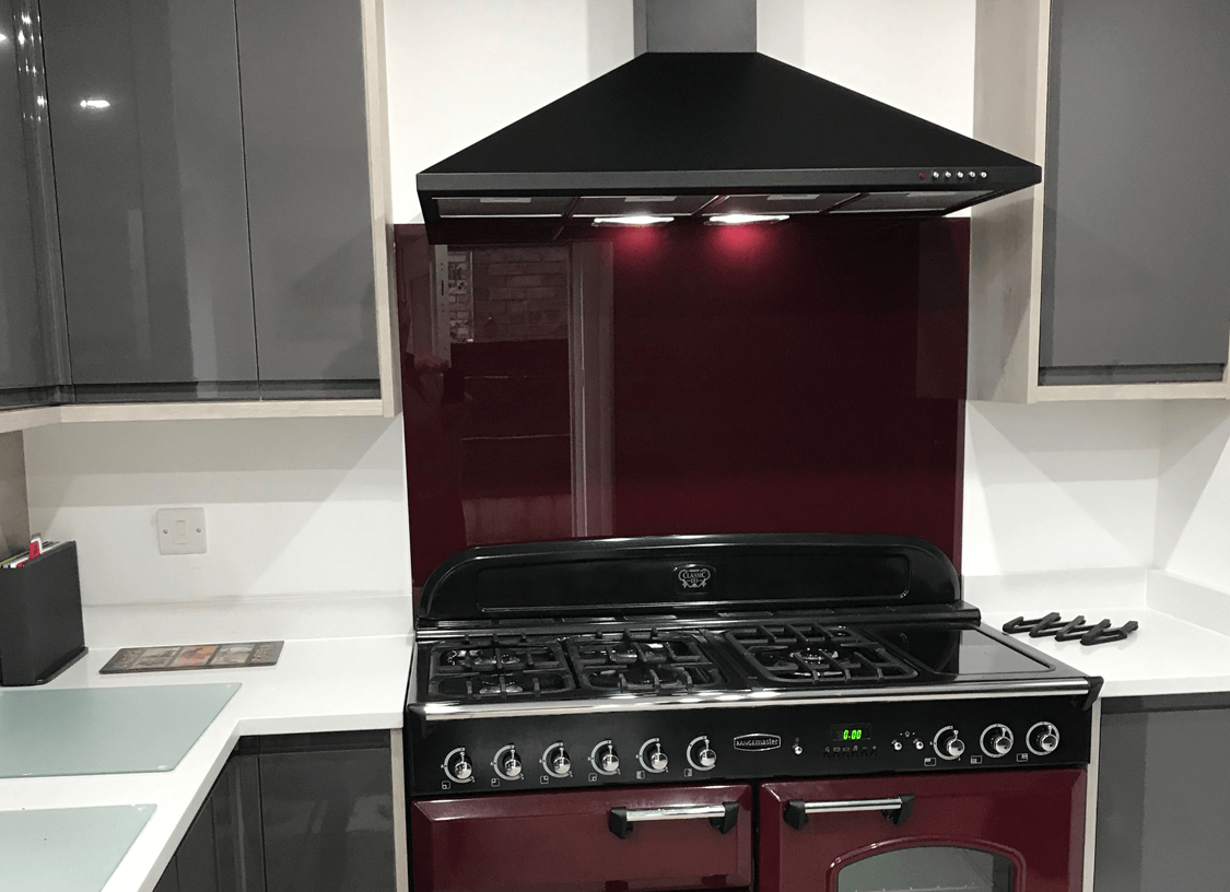 Rangemaster Cranberry Glass Splashback