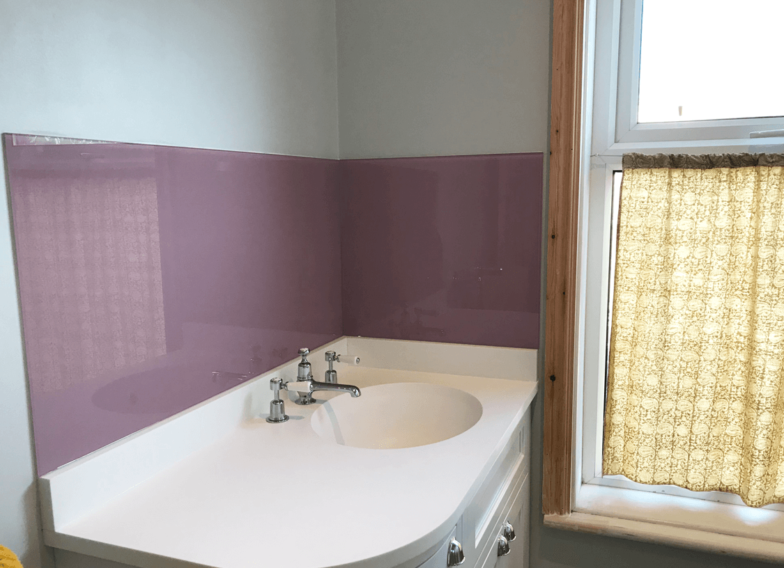 Dulux Dusted Fondant Bathroom Glass Splashback