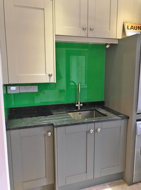 Glass Splashback in Utility Room Painted in Parakeet Green