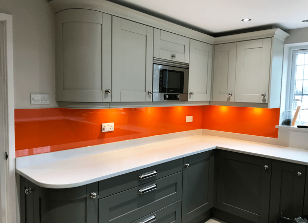 Tiger Orange Glass Splashback