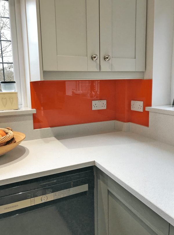 Tiger Orange Glass Splashback with Notch Cuts