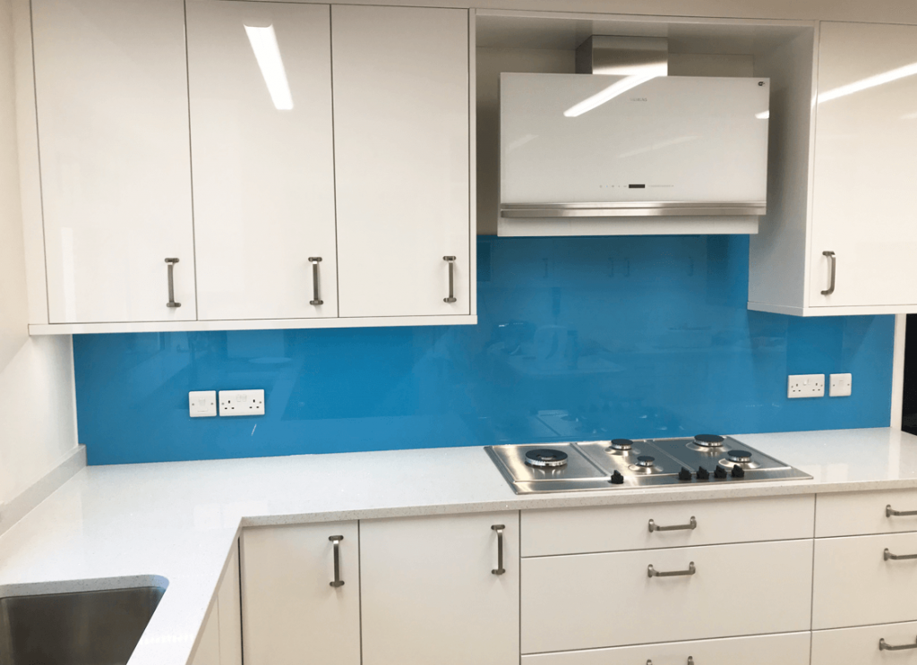 Azure Blue Toughened Glass Splashback Glass Splashbacks