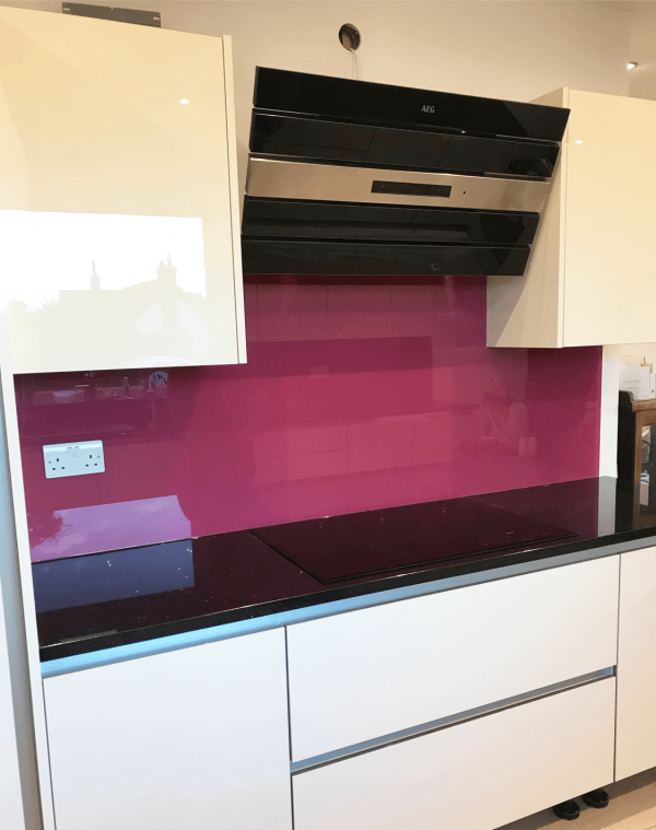 Glass Splashback Painted Dulux Sumptuous Plum