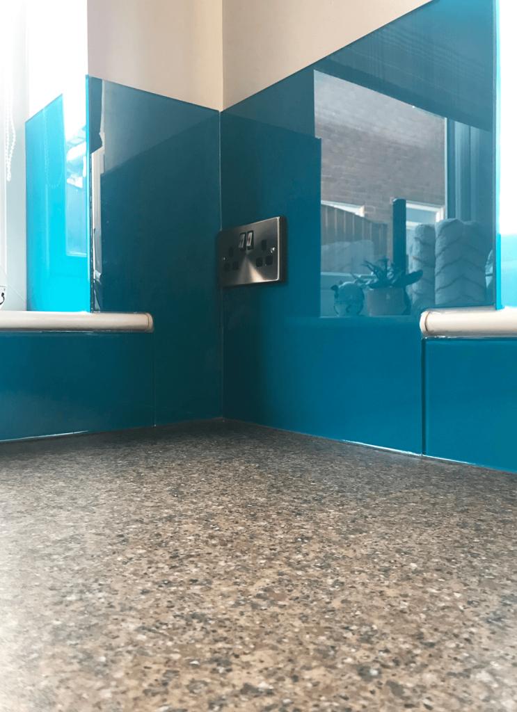 Olympic Blue Glass Splashback Glass Splashbacks