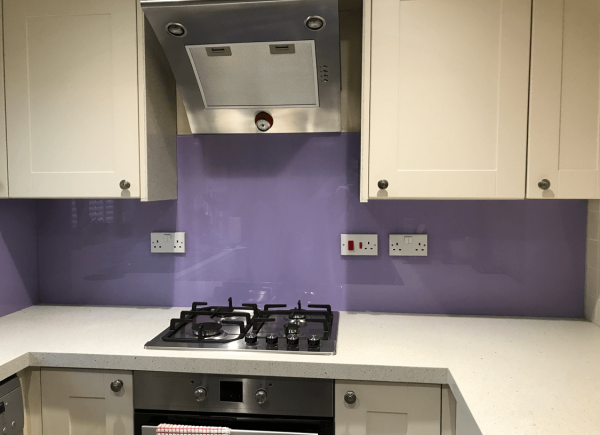 Toughened Glass Splashback Painted in Perriwinkle Purple
