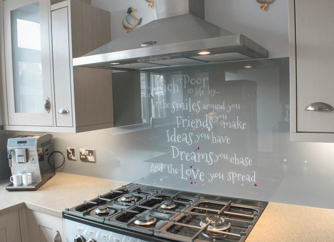 Bespoke Text Design Glass Splashback | Glass Splashbacks Pro Glass 4
