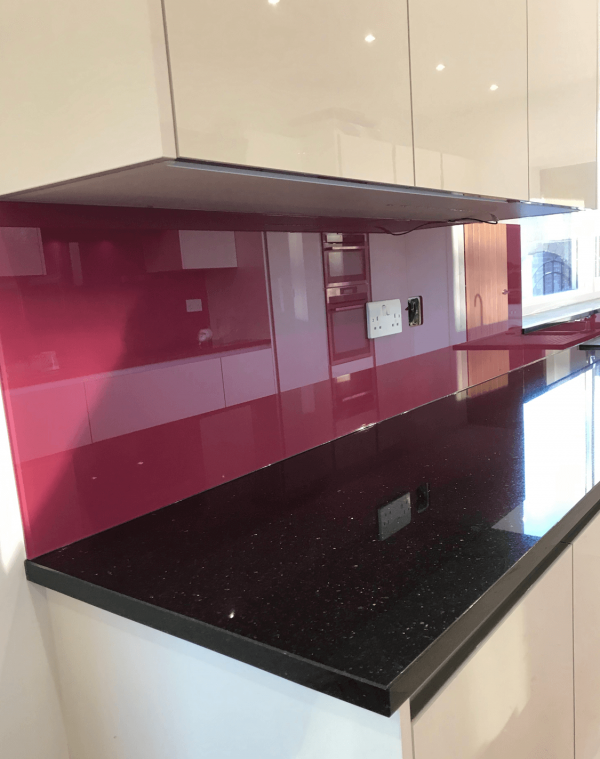 Toughened Glass Splashbacn Painted Dulux Sumptuous Plum