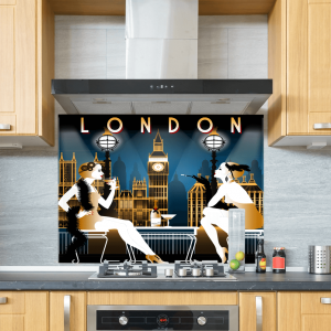Art Deco London Glass Splashback