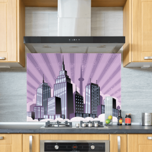 Art Deco Skyline Glass Splashback Purple