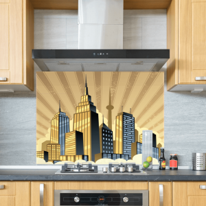 Art Deco Skyline Yellow Glass Splashback