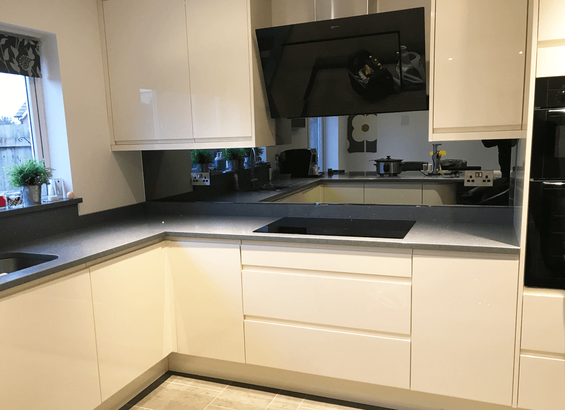 Top Hat Grey Mirror Glass Splashback