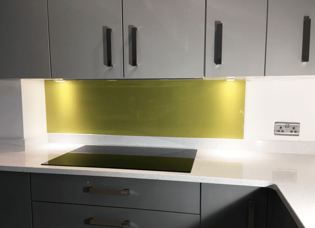 Light Olive Glass Splashback Glass Splashbacks