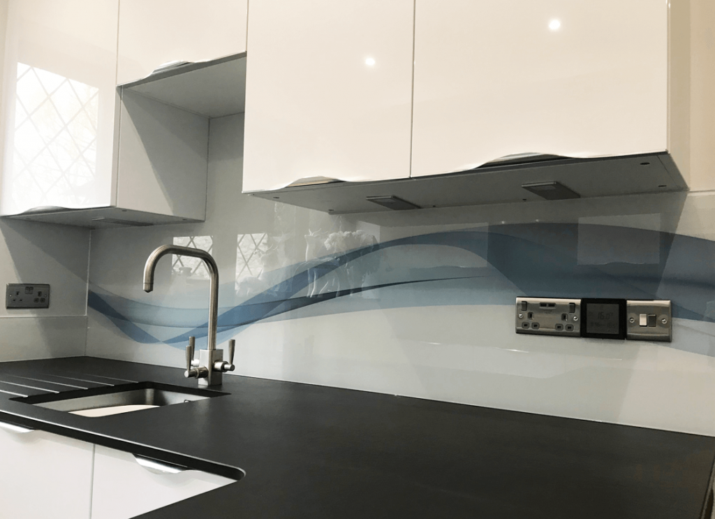 Wave Design Glass Splashback Glass Splashbacks