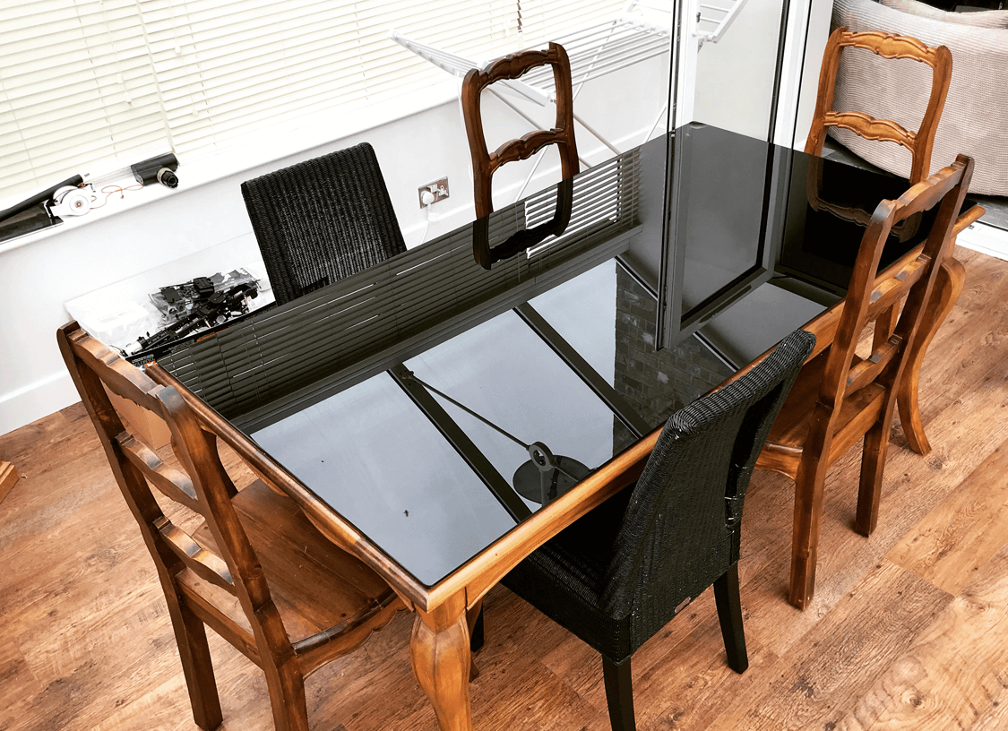 Toughened Black Glass Table Top