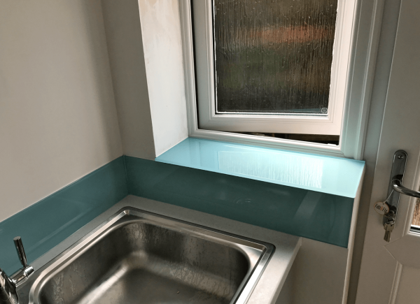 Blue Ground Glass Up Stands with Window Sill