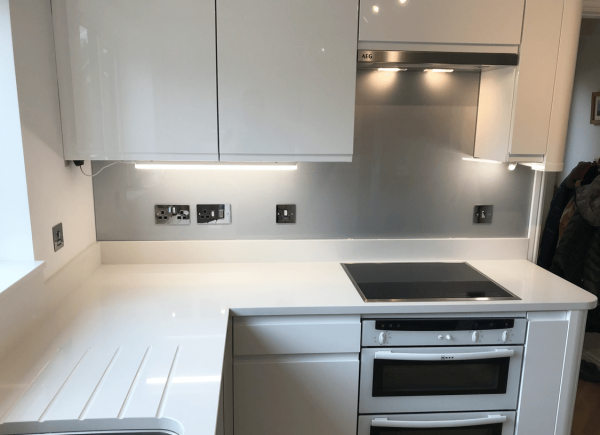 Titanium with Light Sparkle Glass Splashback