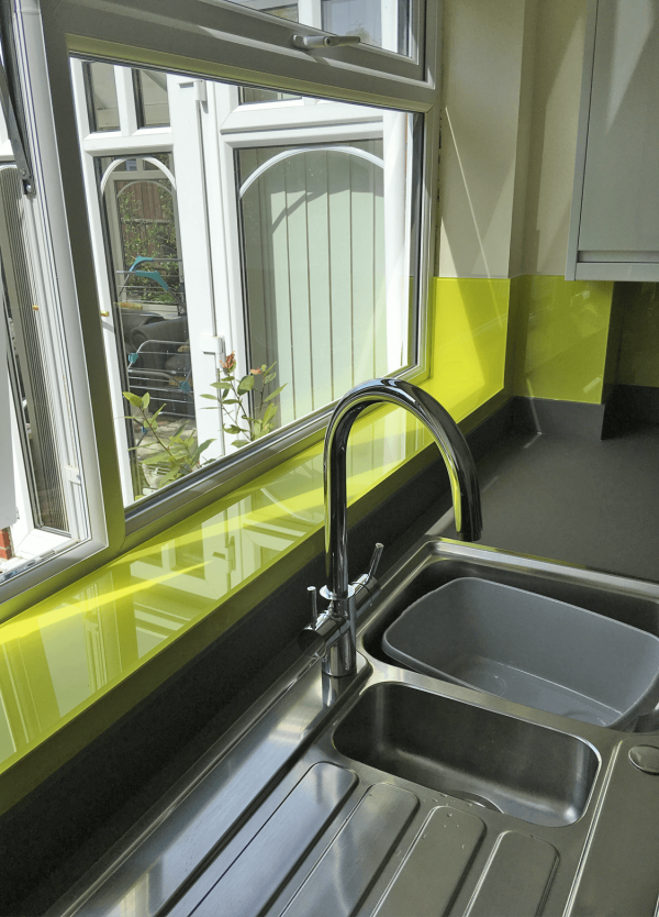 Vibrant LIme Glass Window Sill