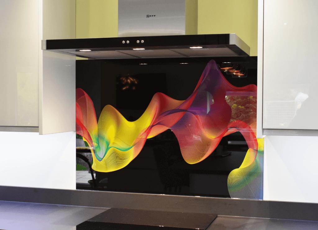 Coloured Smoke Printed Glass Splashback Glass Splashbacks
