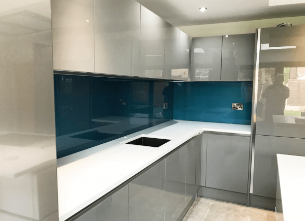 Cosmic Blue Glass Splashback
