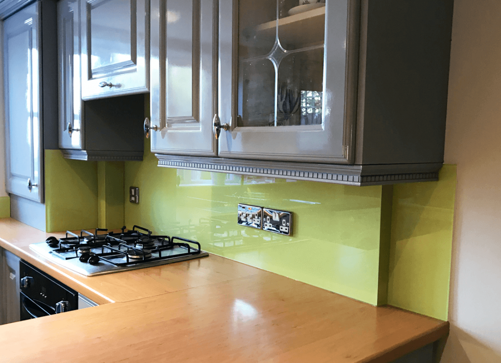 Lemon Chiffon with Light Sparkle Glass Splashback Glass Splashbacks