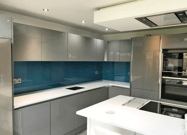 Toughened Glass Splashback Coloured in Cosmic Blue